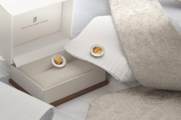 Graf von Faber-Castell, gemelli in oro e platino con quarzo citrino sfaccettato