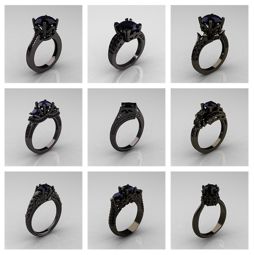 Etsy, anelli in oro nero dallo stile romantico